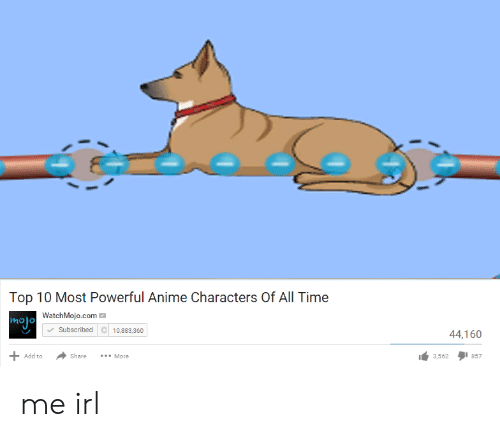 Most Powerful Anime Characters: Top 10 Most Powerful Anime Characters Of All Time  WatchMojo.com  a10,883,360  Subscribed  44,160  Add to  Share  *.More  3,562  857 me irl