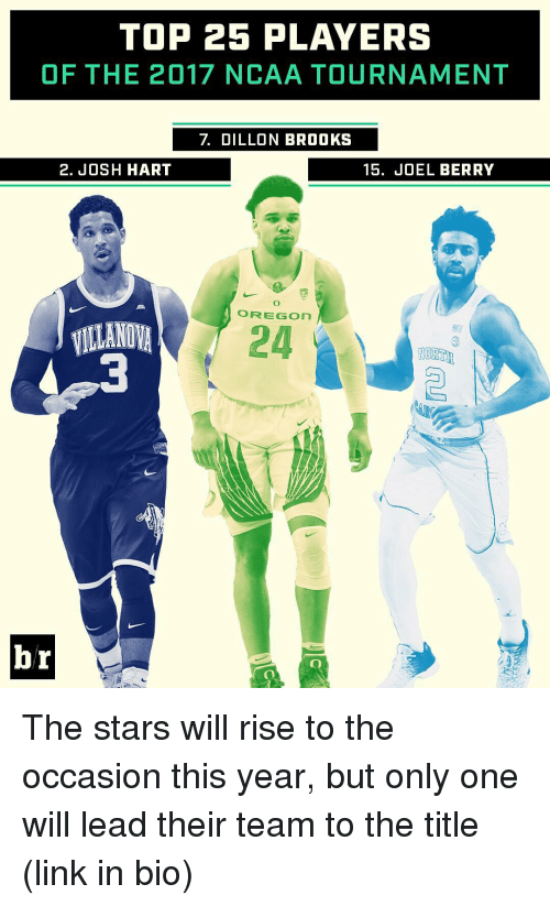 ncaa tournament: TOP 25 PLAYERS  OF THE 2017 NCAA TOURNAMENT  2. JOSH HART  15. JOEL BERRY  O FREE GOn  VILLANOVA  24  NORTH  br The stars will rise to the occasion this year, but only one will lead their team to the title (link in bio)