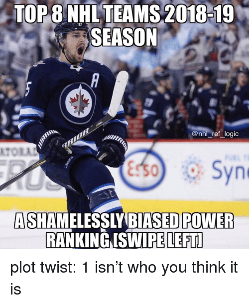 Logic, Memes, and National Hockey League (NHL): TOP  8  NHL  TEAMS  2018-19  SEASON  @nhl ref logic  ASHAMELESSLY BIASEDPOWER  RANKING ISWIPE LEFTL plot twist: 1 isn't who you think it is