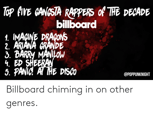 ariana grande: Top FIVE CANGSTA RAPPERS Of THE DECADE  billboard  1. IMAGINE DRAÇONS  2. ARIANA GRANDE  3. BARRY MANILOW  4. ED SHEERAN  5. PANIC! AT THE DISCO  @POPPUNKNIGHT Billboard chiming in on other genres.
