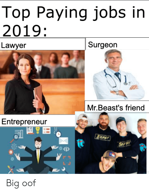 oof: Top Paying jobs in  2019:  Surgeon  Lawyer  Mr.Beast's friend  Entrepreneur  EEAST  SE S1  4i> Big oof