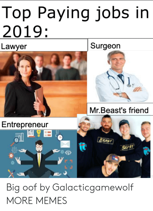 oof: Top Paying jobs in  2019:  Surgeon  Lawyer  Mr.Beast's friend  Entrepreneur  EEAST  SE S1  4i> Big oof by Galacticgamewolf MORE MEMES