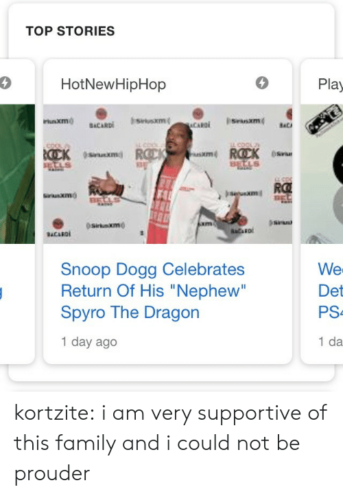 """hotnewhiphop: TOP STORIES  4  HotNewHipHop  Play  usxm  XIm  RO  sitaxmo  Snoop Dogg Celebrates  Return Of His """"Nephew""""  Spyro The Dragon  1 day ago  We  Det  PS  1 da kortzite:  i am very supportive of this family and i could not be prouder"""