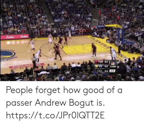 Andrew Bogut, Memes, and Good: TOR 64  7:51 3rd People forget how good of a passer Andrew Bogut is.   https://t.co/JPr0lQTT2E