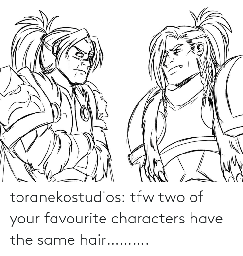 Characters: toranekostudios:  tfw two of your favourite characters have the same hair……….