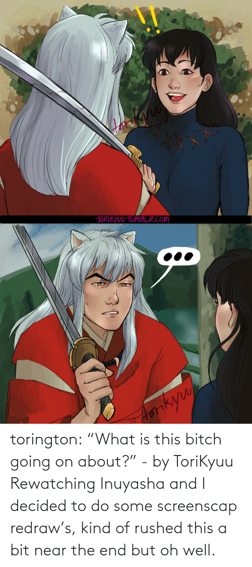 "What Is: torington: ""What is this bitch going on about?"" - by ToriKyuu Rewatching Inuyasha and I decided to do some screenscap redraw's, kind of rushed this a bit near the end but oh well."