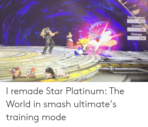 Smash Ultimate: Total Damage  76.5  Combo  29  yes  Damage  2.6  76  Oо  0%  BAYONETTA  yes I remade Star Platinum: The World in smash ultimate's training mode