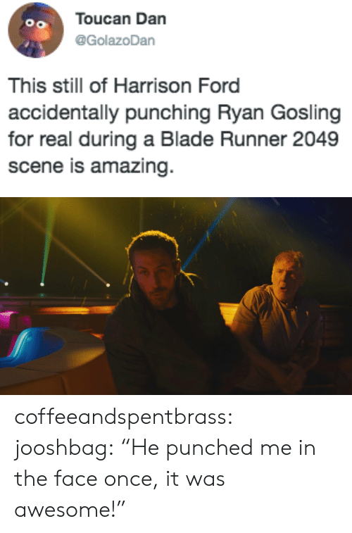"Blade Runner 2049: Toucan Dan  @GolazoDan  This still of Harrison Ford  accidentally punching Ryan Gosling  for real during a Blade Runner 2049  scene is amazing coffeeandspentbrass: jooshbag:   ""He punched me in the face once, it was awesome!"""