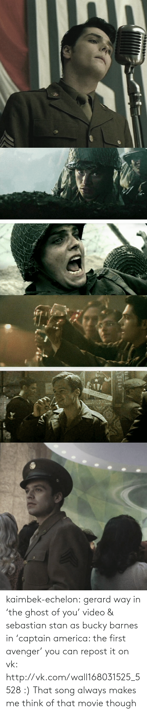 echelon: TOUR CANCELLED kaimbek-echelon:  gerard way in 'the ghost of you' video & sebastian stan as bucky barnes in 'captain america: the first avenger'     you can repost it on vk: http://vk.com/wall168031525_5528 :)  That song always makes me think of that movie though