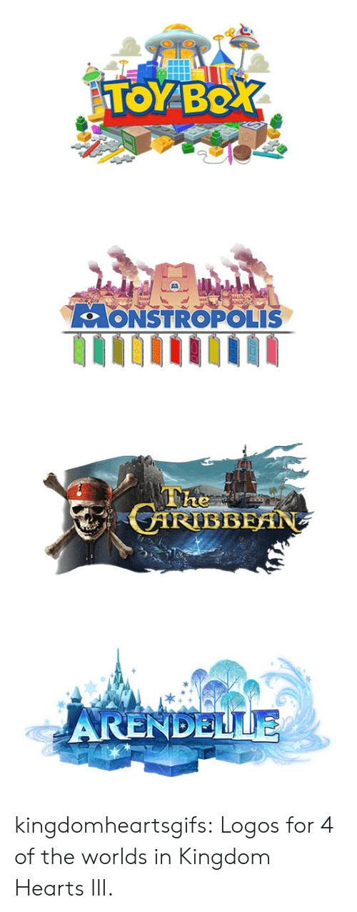 Logos: TOYBO   LoONSTROPOLIS   ARENDELLE kingdomheartsgifs:  Logos for 4 of the worlds in Kingdom Hearts III.