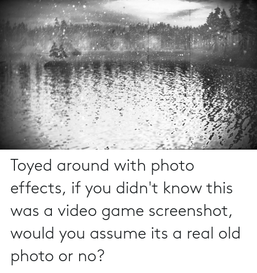 Real Old: Toyed around with photo effects, if you didn't know this was a video game screenshot, would you assume its a real old photo or no?