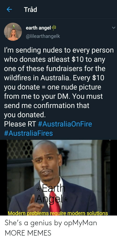 problems: Tråd  earth angel  @lilearthangelk  I'm sending nudes to every person  who donates atleast $10 to any  one of these fundraisers for the  wildfires in Australia. Every $10  you donate = one nude picture  from me to your DM. You must  send me confırmation that  you donated.  Please RT #AustraliaOnFire  #AustraliaFires  *Earth  Angel  *  Modern problems require modern solutions She's a genius by opMyMan MORE MEMES
