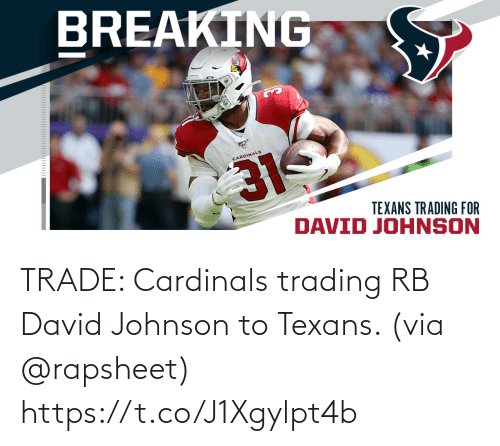 Johnson: TRADE: Cardinals trading RB David Johnson to Texans. (via @rapsheet) https://t.co/J1Xgylpt4b