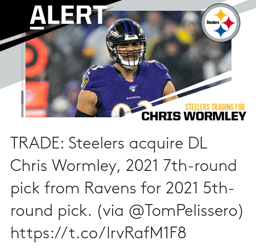 acquire: TRADE: Steelers acquire DL Chris Wormley, 2021 7th-round pick from Ravens for 2021 5th-round pick. (via @TomPelissero) https://t.co/lrvRafM1F8