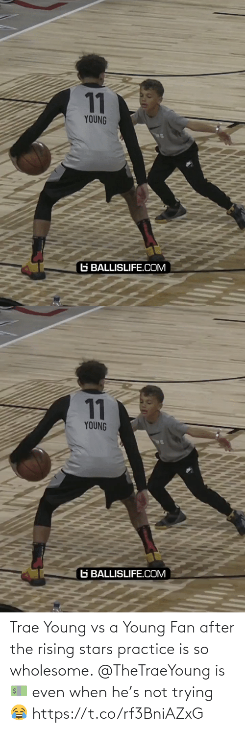 Wholesome: Trae Young vs a Young Fan after the rising stars practice is so wholesome. @TheTraeYoung is 💵 even when he's not trying 😂 https://t.co/rf3BniAZxG