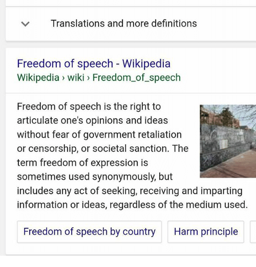 an opinion that government censorship would damage the freedom of expression It is closely linked to freedom of the press because this freedom of expression freedom of speech or opinions without government censorship or.