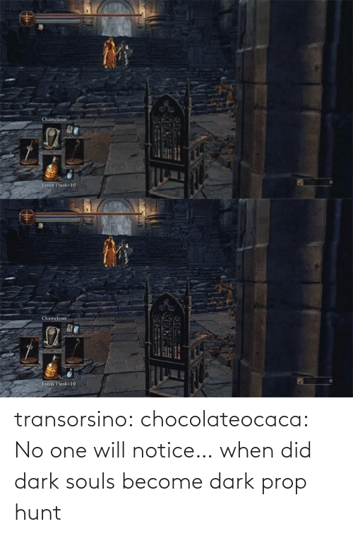 Souls: transorsino:  chocolateocaca:  No one will notice…  when did dark souls become dark prop hunt