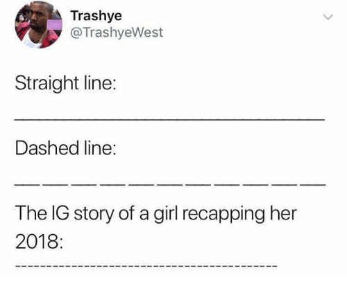 Dank, Girl, and 🤖: Trashye  @TrashyeWest  Straight line:  Dashed line:  The IG story of a girl recapping her  2018: