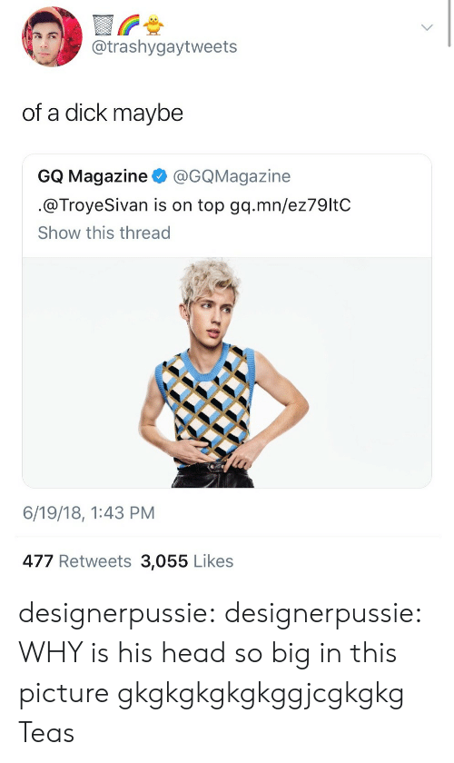 troyesivan: @trashygaytweets  of a dick maybe  GQ Magazine @GQMagazine  @TroyeSivan is on top gq.mn/ez79ltC  Show this thread  6/19/18, 1:43 PM  477 Retweets 3,055 Likes designerpussie:  designerpussie:  WHY is his head so big in this picture gkgkgkgkgkggjcgkgkg  Teas