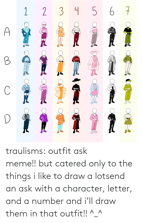 ask: traulisms:  outfit ask meme!! but catered only to the things i like to draw a lotsend an ask with a character, letter, and a number and i'll draw them in that outfit!! ^_^