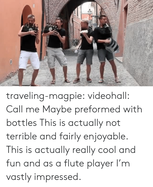 magpie: traveling-magpie:  videohall:  Call me Maybe preformed with bottles   This is actually not terrible and fairly enjoyable.    This is actually really cool and fun and as a flute player I'm vastly impressed.