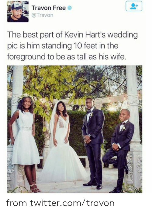 Dank, Twitter, and Best: Travon Free  @Travon  The best part of Kevin Hart's wedding  pic is him standing 10 feet in the  foreground to be as tall as his wife. from twitter.com/travon