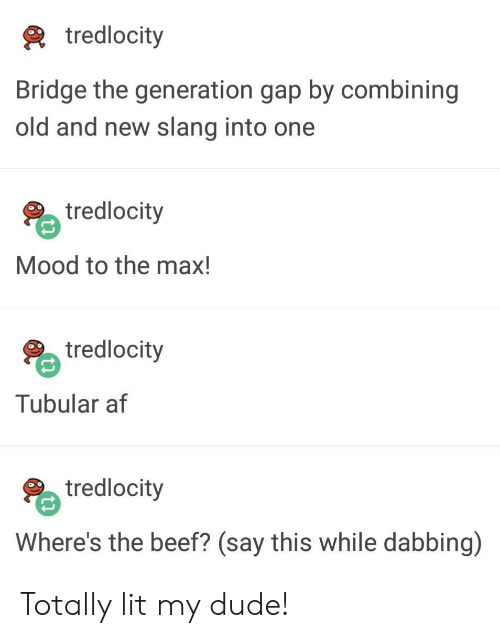 Af, Beef, and Dude: tredlocity  Bridge the generation gap by combining  old and new slang into one  tredlocity  Mood to the max!  tredlocity  Tubular af  tredlocity  Where's the beef? (say this while dabbing) Totally lit my dude!