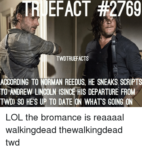 up to date: TRI EFACT #2769  TWDTRUEFACTS  ACCORDING TO NORMAN REEDUS, HE SNEAKS SCRIPTS  TO ANDREW LINCOLN (SINCE HIS DEPARTURE FROM  TWD) SO HE'S UP TO DATE ON WHATS GOING ON LOL the bromance is reaaaal walkingdead thewalkingdead twd