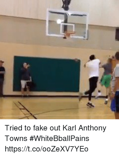 Basketball, Fake, and White People: Tried to fake out Karl Anthony Towns #WhiteBballPains https://t.co/ooZeXV7YEo