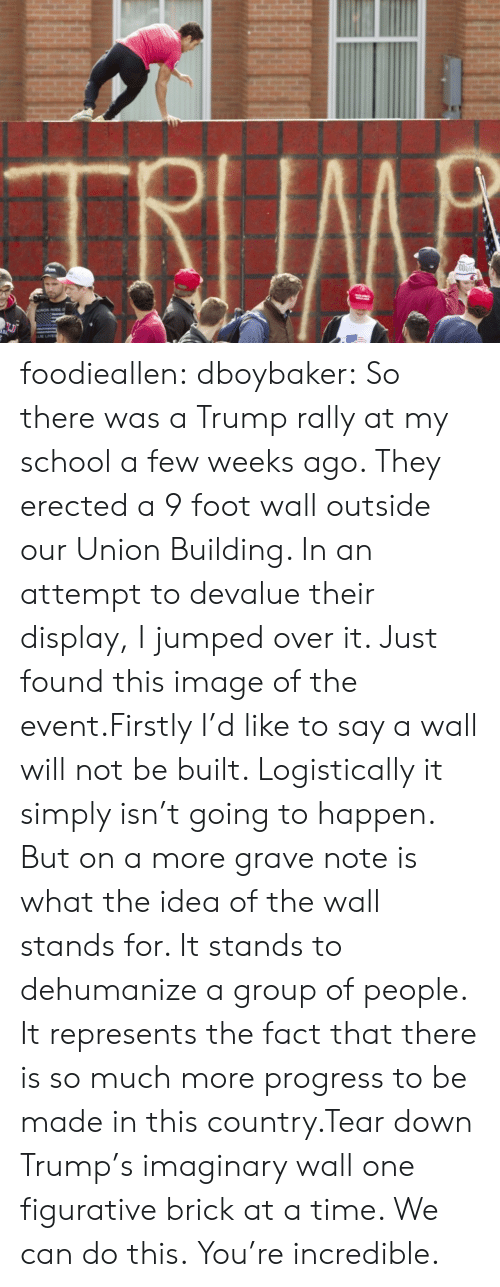 the event: TRIIMB  COO foodieallen:  dboybaker:  So there was a Trump rally at my school a few weeks ago. They erected a 9 foot wall outside our Union Building. In an attempt to devalue their display, I jumped over it. Just found this image of the event.Firstly I'd like to say a wall will not be built. Logistically it simply isn't going to happen. But on a more grave note is what the idea of the wall stands for. It stands to dehumanize a group of people. It represents the fact that there is so much more progress to be made in this country.Tear down Trump's imaginary wall one figurative brick at a time. We can do this.  You're incredible.