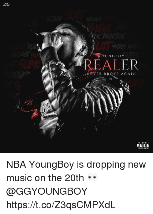 Music, Nba, and Parental Advisory: TRIL  YOUNGBOY  REALER  NEVER BROKE AGAIN  PARENTAL  ADVISORY  EXPLICIT CONTENT NBA YoungBoy is dropping new music on the 20th 👀 @GGYOUNGBOY https://t.co/Z3qsCMPXdL