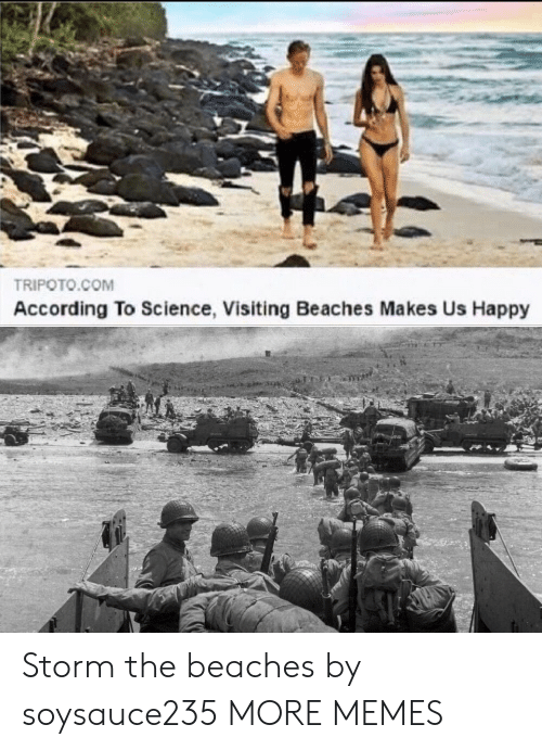 storm: TRIPOTO.COM  According To Science, Visiting Beaches Makes Us Happy Storm the beaches by soysauce235 MORE MEMES