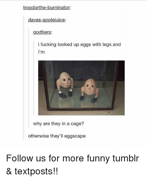 caging: trogdorthe-burninator:  daves-applejuice:  godtiers:  i fucking looked up eggs with legs and  i'm  why are they in a cage?  otherwise they'll eggscape Follow us for more funny tumblr & textposts!!
