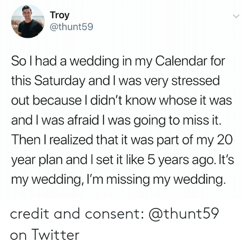 my 20: Troy  @thunt59  So I had a wedding in my Calendar for  this Saturday and I was very stressed  out because I didn't know whose it was  and I was afraid I was going to miss it.  Then I realized that it was part of my 20  year plan and I set it like 5 years ago. It's  my wedding, I'm missing my wedding. credit and consent: @thunt59 on Twitter