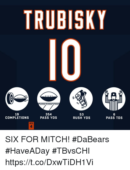 Memes, Rush, and 🤖: TRUBISKY  10  19  COMPLETIONS  354  PASS YDS  53  RUSH YDS  PASS TDS  WK  4 SIX FOR MITCH!  #DaBears #HaveADay #TBvsCHI https://t.co/DxwTiDH1Vi