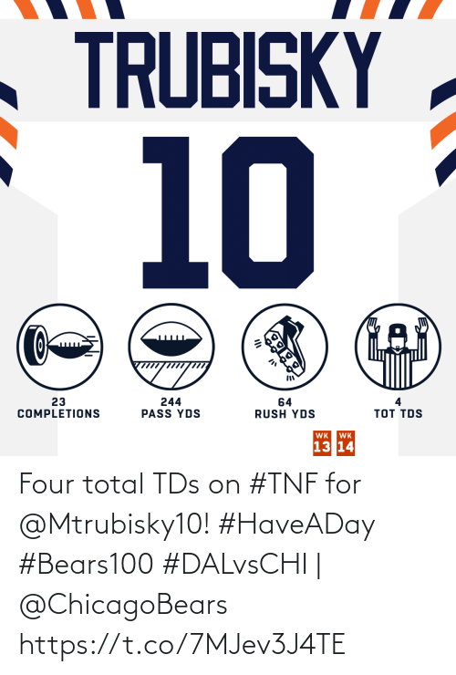 tds: TRUBISKY  10  23  COMPLETIONS  244  PASS YDS  64  RUSH YDS  тоT TOS  WK  WK  13 14 Four total TDs on #TNF for @Mtrubisky10! #HaveADay #Bears100  #DALvsCHI | @ChicagoBears https://t.co/7MJev3J4TE