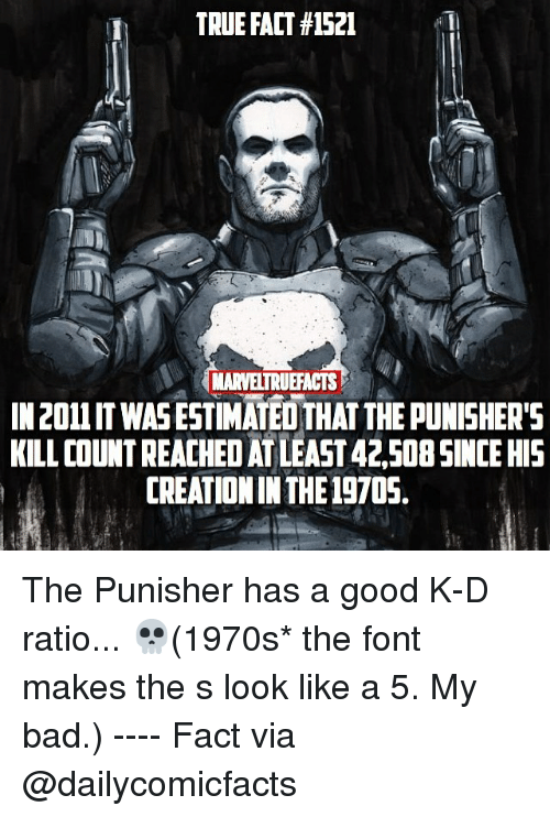 creationism: TRUE FACT #152  1  MARVELTRUEFACTS  IN 2011 IT WASESTIMATED THAT THE PUNISHERS  KILL COUNT REACHED AT LEAST 42,50B SINCE HIS  CREATION IN THE 19705, The Punisher has a good K-D ratio... 💀(1970s* the font makes the s look like a 5. My bad.) ---- Fact via @dailycomicfacts