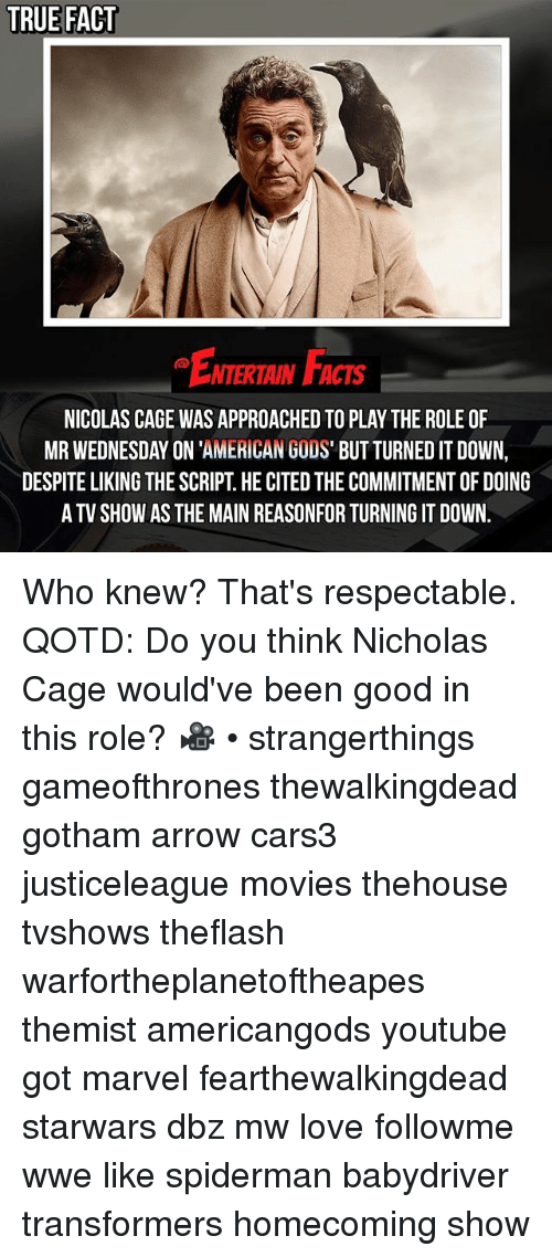 caging: TRUE FACT  ENTERTAIN FACTS  NTERTAIN FACTS  NICOLAS CAGE WAS APPROACHED TO PLAY THE ROLE OF  MR WEDNESDAY ON 'AMERICAN GODS' BUT TURNED IT DOWN,  DESPITE LIKING THE SCRIPT. HE CITED THE COMMITMENT OF DOING  A TV SHOW AS THE MAIN REASONFOR TURNING IT DOWN. Who knew? That's respectable. QOTD: Do you think Nicholas Cage would've been good in this role? 🎥 • strangerthings gameofthrones thewalkingdead gotham arrow cars3 justiceleague movies thehouse tvshows theflash warfortheplanetoftheapes themist americangods youtube got marvel fearthewalkingdead starwars dbz mw love followme wwe like spiderman babydriver transformers homecoming show