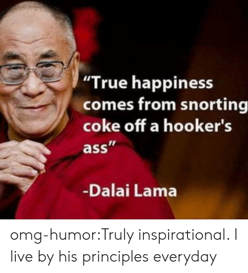 "lama: ""True happiness  comes from snorting  coke off a hooker's  ass  Dalai Lama omg-humor:Truly inspirational. I live by his principles everyday"