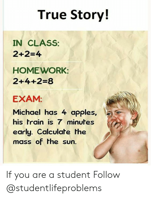 True, Tumblr, and Http: True Story!  IN CLASS:  2+2-4  HOMEWORK:  2+4+2-8  EXAM:  Michael has 4 apples,  IC  his train is 7 minutes  early. Calculate the  mass of the sun If you are a student Follow @studentlifeproblems