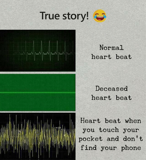 Find Your: True story!  Normal  heart beat  Deceased  heart beat  Heart beat when  you touch your  pocket and don't  find your phone