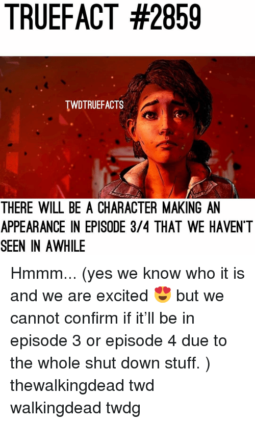 Memes, Stuff, and 🤖: TRUEFACT #2859  TWDTRUEFACTS  THERE WILL BE A CHARACTER MAKING AN  APPEARANCE IN EPISODE 3/4 THAT WE HAVENT  SEEN IN AWHILE Hmmm... (yes we know who it is and we are excited 😍 but we cannot confirm if it'll be in episode 3 or episode 4 due to the whole shut down stuff. ) thewalkingdead twd walkingdead twdg