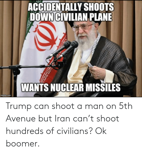 Civilians: Trump can shoot a man on 5th Avenue but Iran can't shoot hundreds of civilians? Ok boomer.