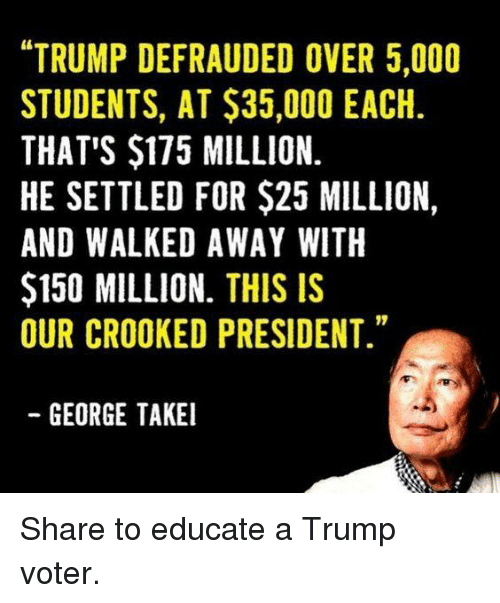 """George Takei: """"TRUMP DEFRAUDED OVER 5,000  STUDENTS, AT $35,000 EACH  THAT'S $175 MILLION.  HE SETTLED FOR $25 MILLION,  AND WALKED AWAY WITH  $150 MILLION. THIS IS  OUR CROOKED PRESIDENT.""""  GEORGE TAKEI Share to educate a Trump voter."""
