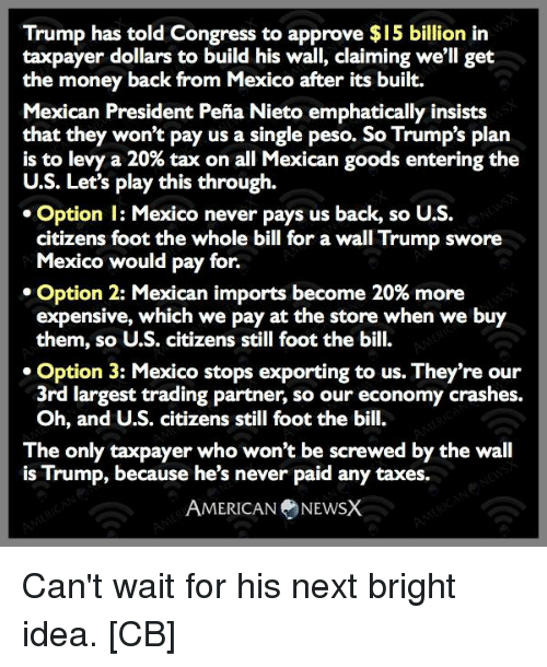 pena nieto: Trump has told Congress to approve $15 billion in  taxpayer dollars to build his wall, claiming we'll get  the money back from Mexico after its built.  Mexican President Pena Nieto emphatically insists  that they won't pay us a single peso. So Trump's plan  is to levy a 20% tax on all Mexican goods entering the  U.S. Let's play this through.  Option l: Mexico never pays us back, so U.S.  citizens foot the whole bill for a wall Trump swore  Mexico would pay for.  Option 2: Mexican imports become 20% more  expensive, which we pay at the store when we buy  them, so U.S. citizens still foot the bill.  Option 3: Mexico stops exporting to us. They're our  3rd largest trading partner, so our economy crashes.  Oh, and U.S. citizens still foot the bill.  The only taxpayer who won't be screwed by the wall  is Trump, because he's never paid any taxes.  AMERICAN NEWSX Can't wait for his next bright idea. [CB]