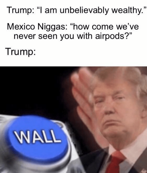 "Mexico, Trump, and Never: Trump: ""I am unbelievably wealthy.""  Mexico Niggas: ""how come we've  never seen you with airpods?""  Trump:  WALL"