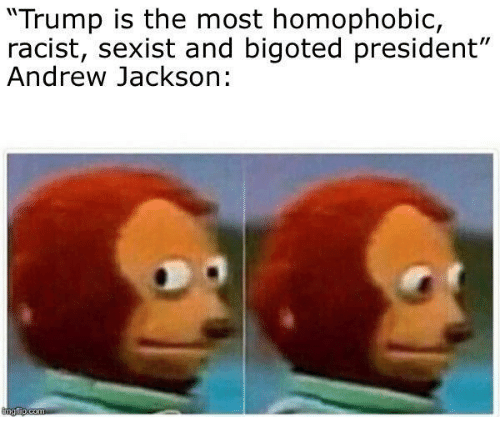"Trump, Racist, and Andrew Jackson: ""Trump is the most homophobic,  racist, sexist and bigoted president""  Andrew Jackson:"