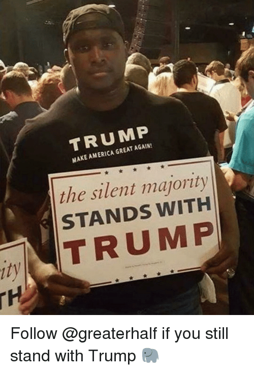 America, Memes, and Trump: TRUMP  MAKE AMERICA GREAT AGAIN!  the silent majority  STANDS WITH  ity  TRUMP Follow @greaterhalf if you still stand with Trump 🐘