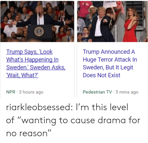 "Trump Says: Trump Says, 'Look  What's Happening In  Sweden Sweden Asks  Wait, What?  Trump Announced A  Huge Terror Attack In  Sweden, But It Legit  Does Not Exist  NPR 3 hours ago  Pedestrian TV 5 mins ago  ( riarkleobsessed: I'm this level of ""wanting to cause drama for no reason"""
