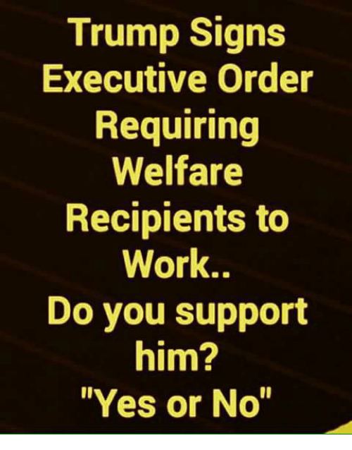 executive order: Trump Signs  Executive Order  Requiring  Welfare  Recipients to  Work..  Do you support  him?  Yes or No""